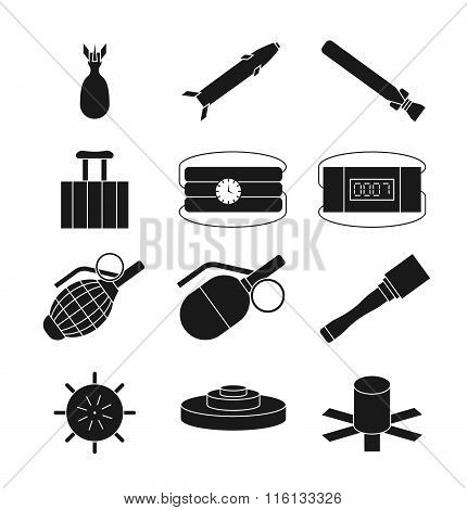 Bomb, dynamite and explosive vector icons set