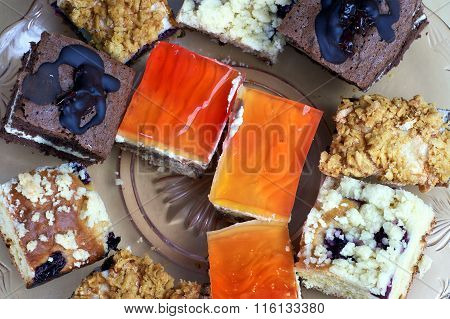 Glass plate with sweet pastries