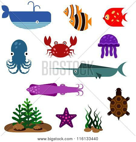 Flat fish vector icons set