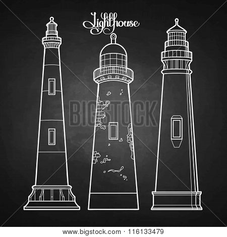 Graphic lighthouses set