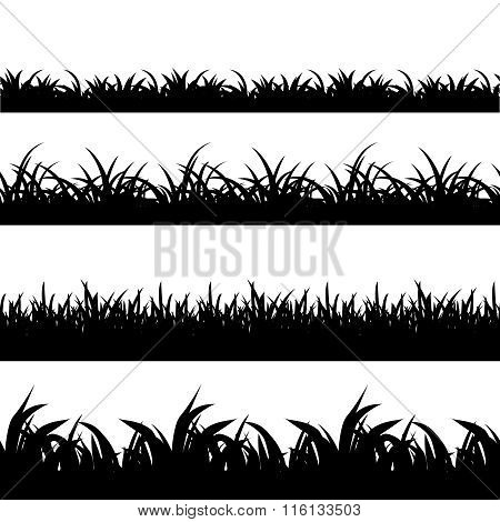Seamless grass black silhouette vector set