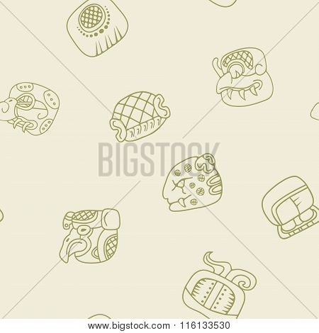 Seamless pattern with glyphs of the Mayan writing
