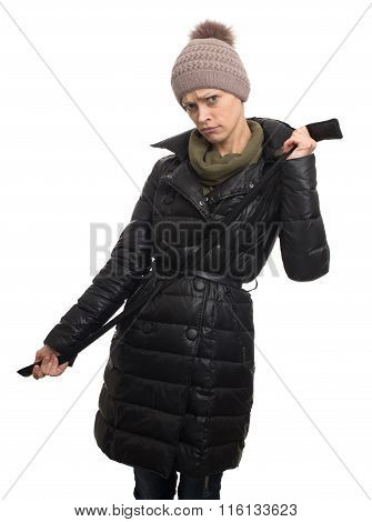 Angry Woman Wearing Jacket And Knit Hat