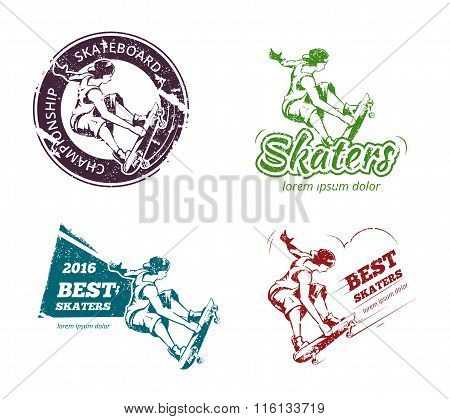 Retro color skateboarding labels, logos and stickers vector set