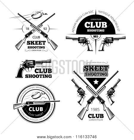 Vintage gun club vector labels, logos, emblems set