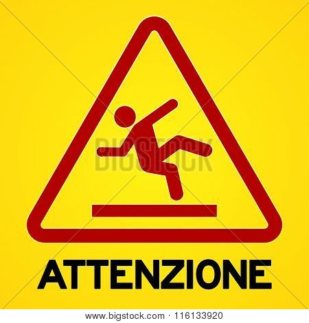 Yellow And Red Attenzione Symbol