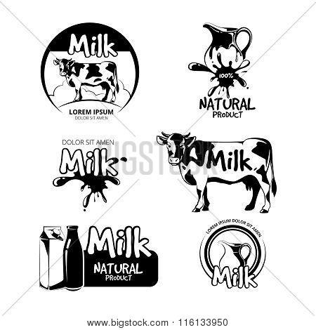 Milk logo and emblems vector set