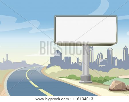 Blank advertising highway billboard and urban landscape. Vector illustration