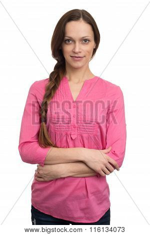 Woman In Pink Clothing