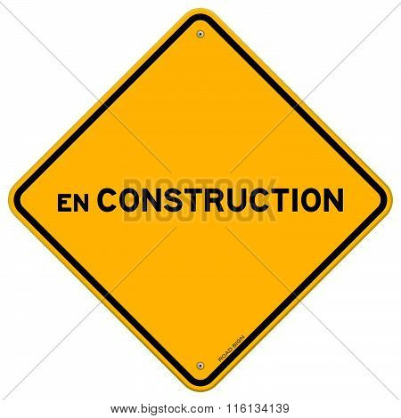 Isolated Single En Construction Sign