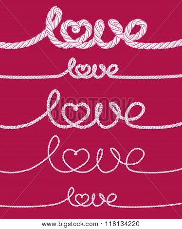 Set Of Love Rope Inscriptions