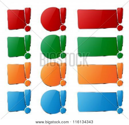 Collection Of Glossy Frames With Exclamation Mark