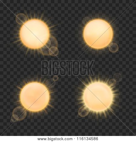 Vector realistic sun on plaid background
