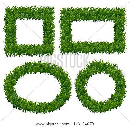 Green grass frames vector set