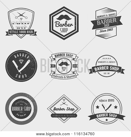 Barber shop logo vector set in vintage style. Design elements, labels, badges and emblems