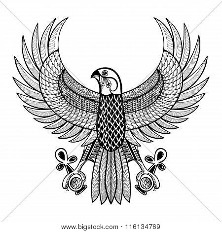Hand drawn artistically Egypt Horus Falcon