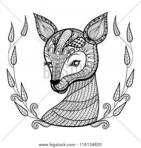 Hand drawn ethnic ornamental patterned cute deer
