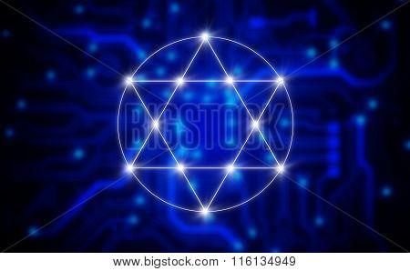 Illustration Of A Electronic Pentagram Symbol