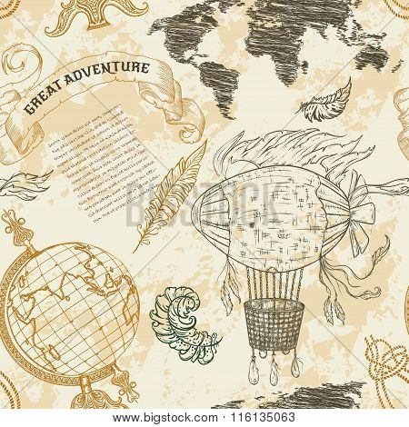 Seamless pattern with vintage globe, abstract world map, airship, rope knots, ribbon. Retro hand dra