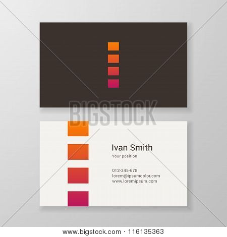Letter I Stripes Business Card Template