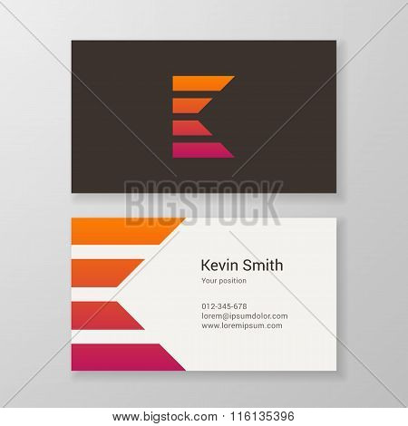 Letter K Stripes Business Card Template