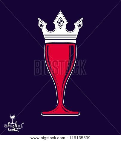 Decorative Luxury Wineglass With Monarch Crown, Art Goblet Best For Use In Graphic Design. Full Glas
