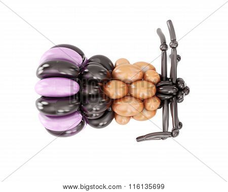 3D figure of balloons spider isolated on white background