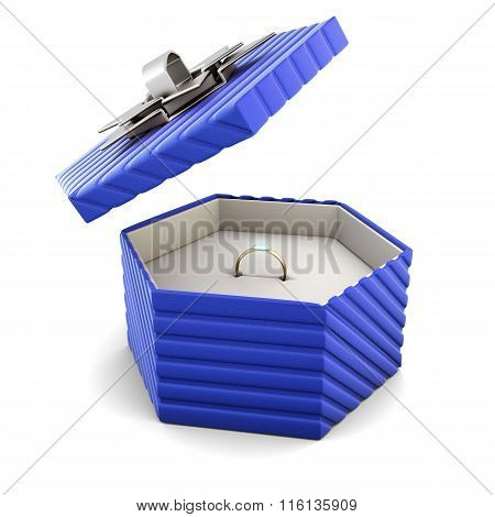 Ring in a blue gift box on a white background
