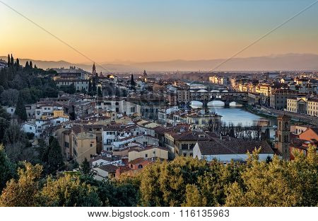 Panoramic View Of Florence, Ponte Vecchio And Arno River