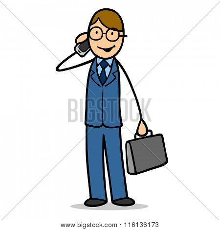 Cartoon business man with briefcase making a smartphone call