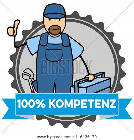 Plumber cartoon man with German slogan