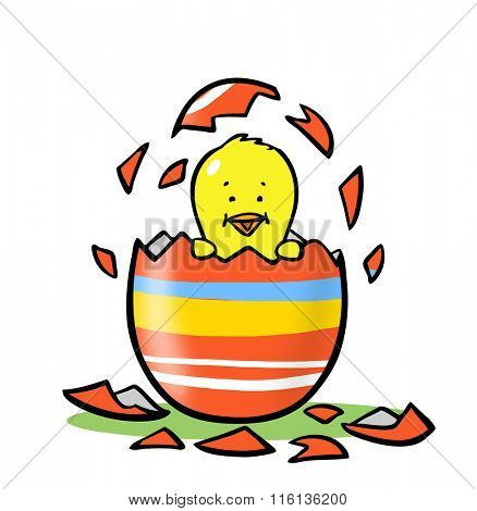 Cute cartoon chick hatching to easter from colorful egg