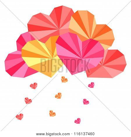 Origami Paper Hearts Composition With Heart Rain Drops