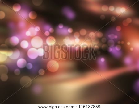 Night bar - abstract blurred city background with bokeh lights