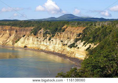 Bay  island Kunashir. Kuriles,Pacific ocean