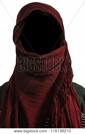 Faceless man under maroon veils isolated on white background