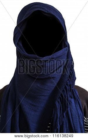 Faceless man under dark blue veils isolated on white background