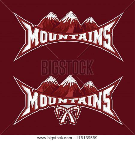 Mountains Sport Team Emblem Vector Design Template