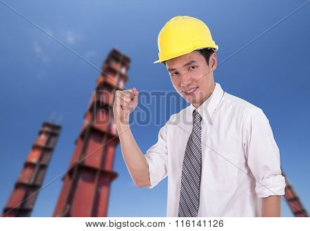 Happy Engineer With Arm Raised, Concept Of Successful, Construction Pillar Background