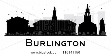 Burlington City skyline black and white silhouette. Vector illustration. Simple flat concept for tourism presentation, banner, placard or web. Business travel concept. Cityscape with landmarks