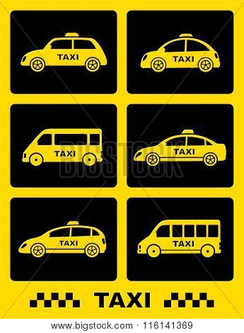 set of taxi car icon on black buttons