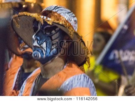 Candombe Drummer At Carnival Parade Of Uruguay