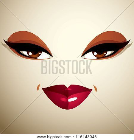 Attractive Woman With Stylish Bright Make-up. Sexy Caucasian Tricky Lady. Human Eyes And Lips