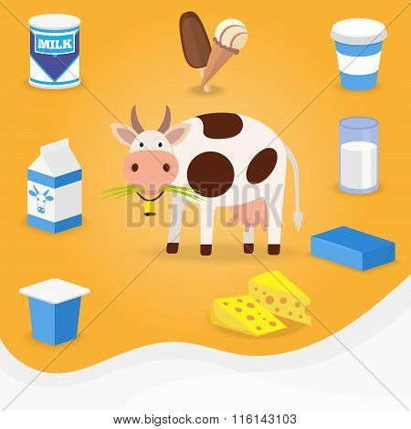 Cow and dairy products icons.