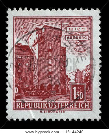 AUSTRIA - CIRCA 1960: A stamp printed in Austria shows image of the Erdberg area of Vienna, series, circa 1960