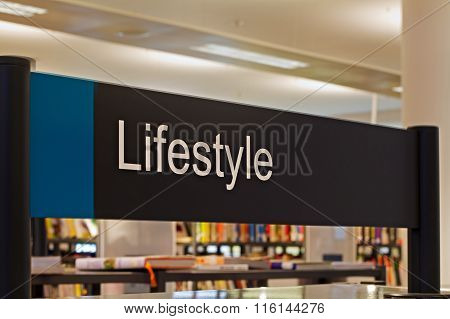 LIVERPOOL UK 16TH JAN 2016. Lifestyle Section Sign Inside A Modern Public Library
