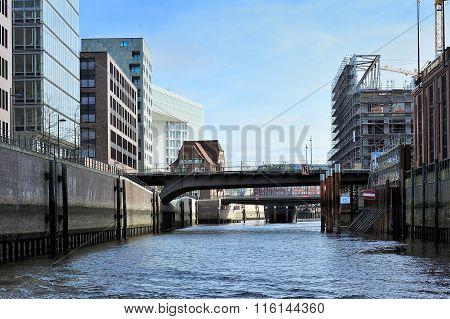 Modern Construction At Channel, Hamburg, Germany.