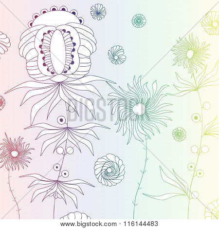 Stock Vector Doodle Color Floral Pattern .