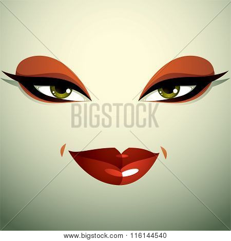 Emotional Expression On The Face Of A Cute Girl. Beautiful Sexy And Tricky Woman With Modern Makeup