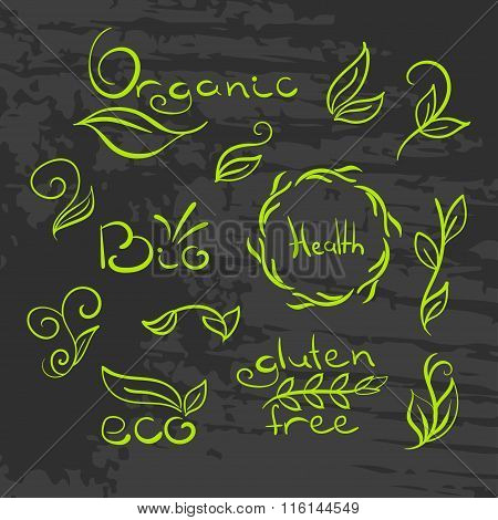 Organic,bio,ecology natural logotypes set.